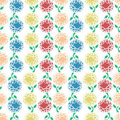 Selection of colourful flowers with leafs set up as a seamless pattern