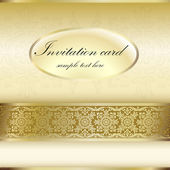 Gold invitation card with ornament motif