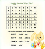 Find the Easter words puzzle for the kids to solve with a cute bunny painting is eggs