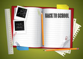 Composizione della scuola con notebook aperto