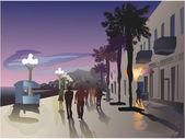 Vector image of Tel Aviv's promenade
