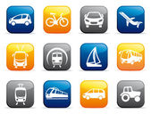Buttons with the image of various types of transport