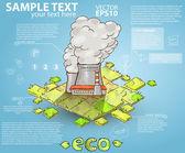 Retro infografiky ručně tažené továrny chrlí znečištění
