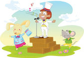 Illustration of singing boy and mouse and rabbit