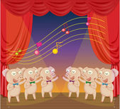 Illustration of pigs singing on stage
