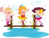Illustration of girls dancing and singing