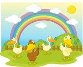 Illustration of duck on background of rainbow