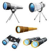 Illustraiton of telescopes and binoculars