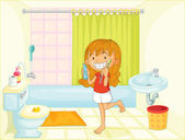 Child in bathroom illustration image
