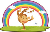 Illustration of monkey on rainbow background