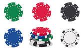 Illustration of casino chips on white background
