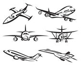 Monochrome collection of different airplanes