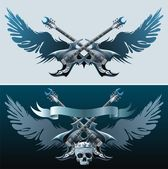 Two backgrounds with guitars skull wings and ribbon