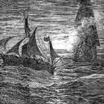 Постер, плакат: French corsairs fire upon the captives boat