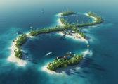Ráj tropický ostrov v podobě nekonečného znamení. nekonečná radost