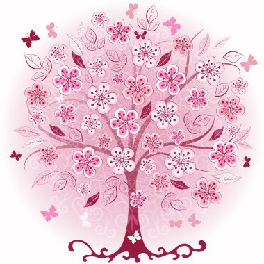 Pink decorative spring tree