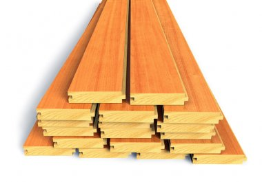 Stacked wooden construction planks