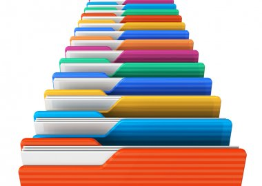 Row of color folders
