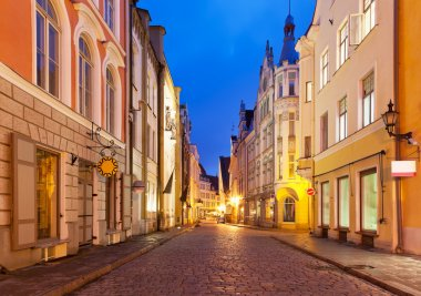 Evening street in the Old Town in Tallinn, Estonia