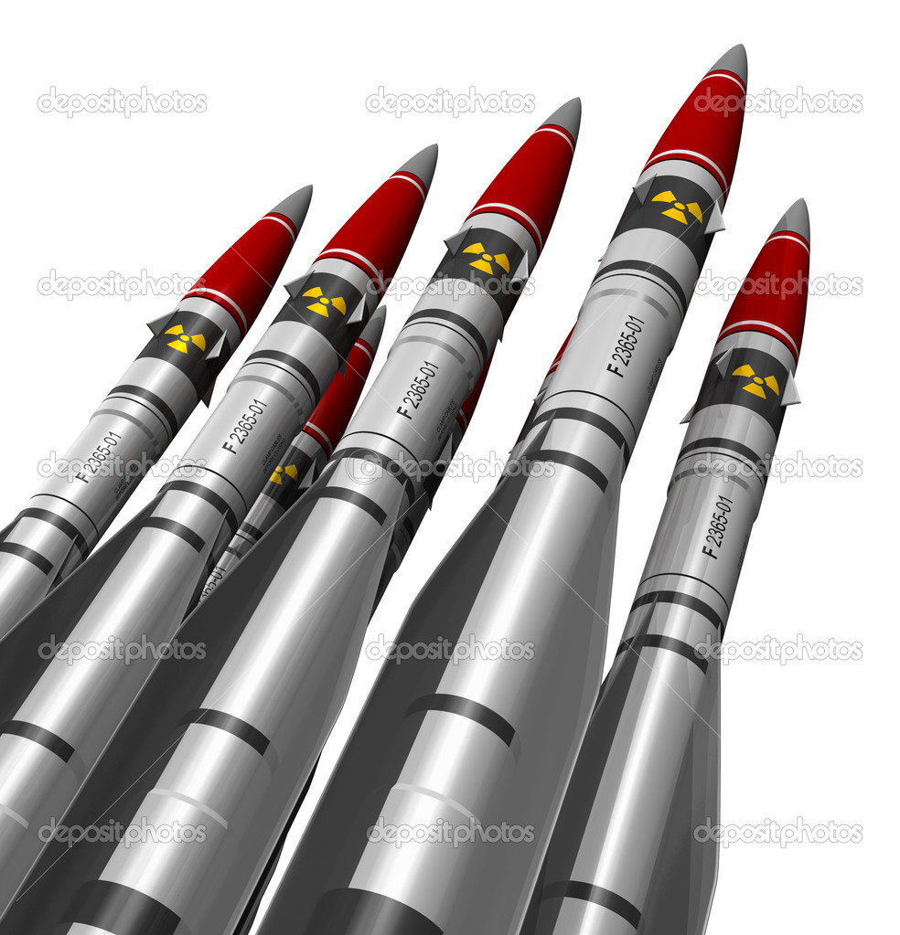 Group of heavy nuclear missiles isolated on white background stock vector