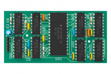 Digital circuit board with microchips