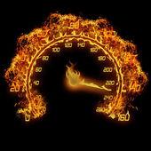 Fotografie hořící rychloměru