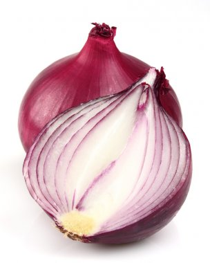Red onion on a white background