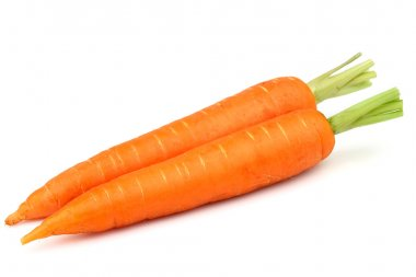 Two carrots on a white background