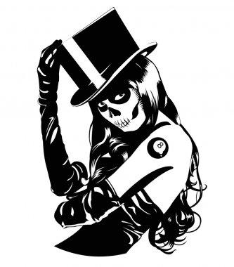 Vector illustration of Sugar Skull girl