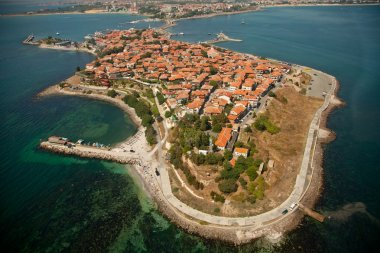 Old Nessebar city, Bulgaria, aerial view from helicopter stock vector