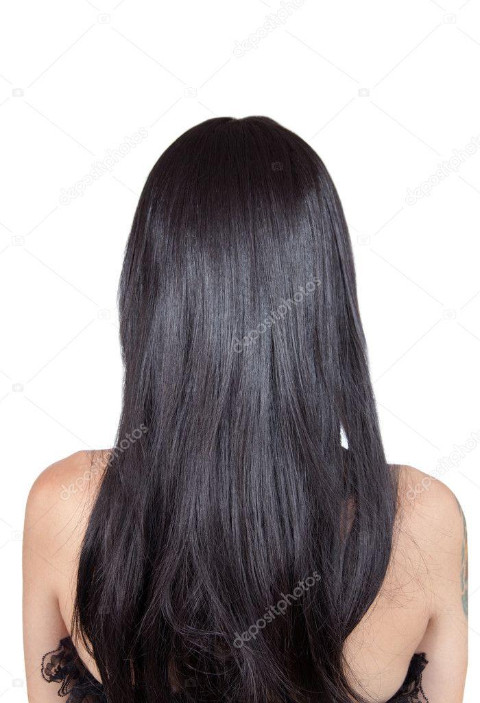 Девушка с длинными черными волосами сзади