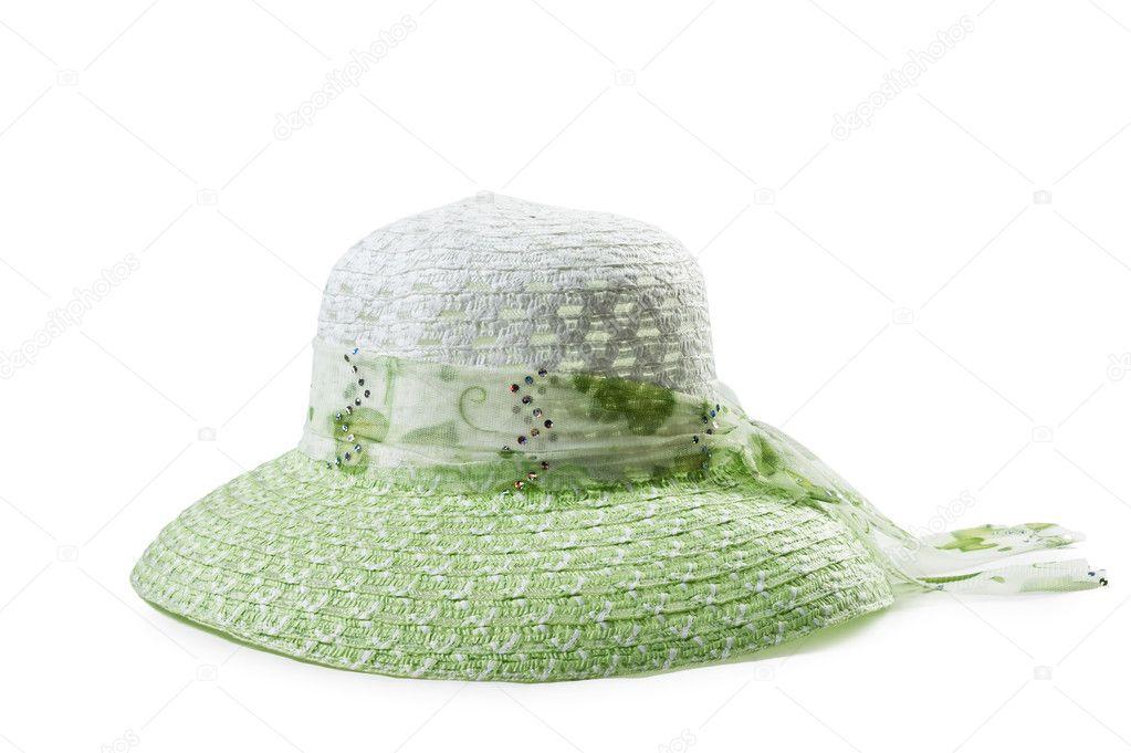 c69be7ef29 Ψάθινο καπέλο των γυναικών που απομονώνονται σε λευκό φόντο — Εικόνα από  Observer