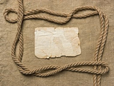 Old paper and rope on canvas