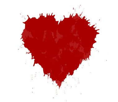 Vector illustration of grunge heart made with red ink. Valentine
