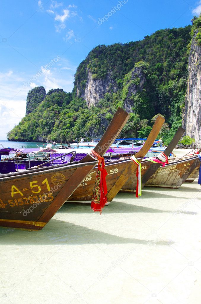 Longtail boats Andaman Sea