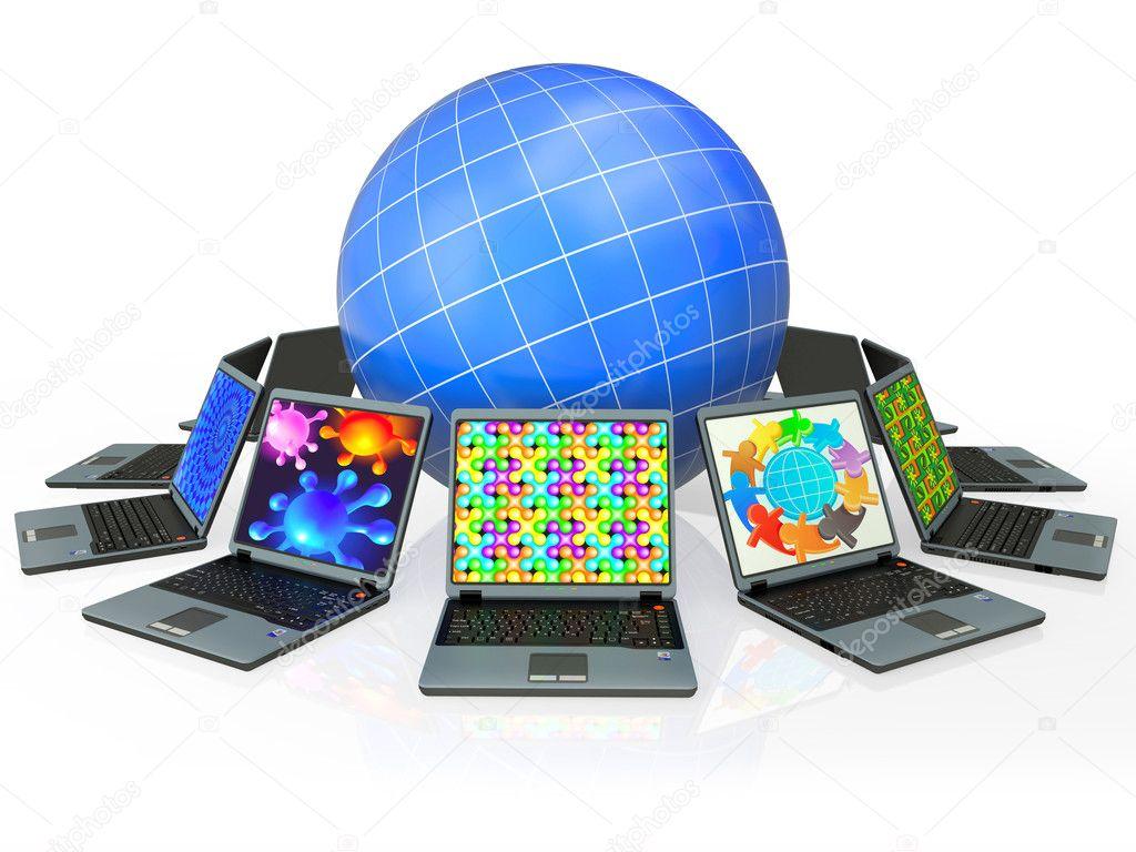 картинка глобус с компьютером них старинные современные