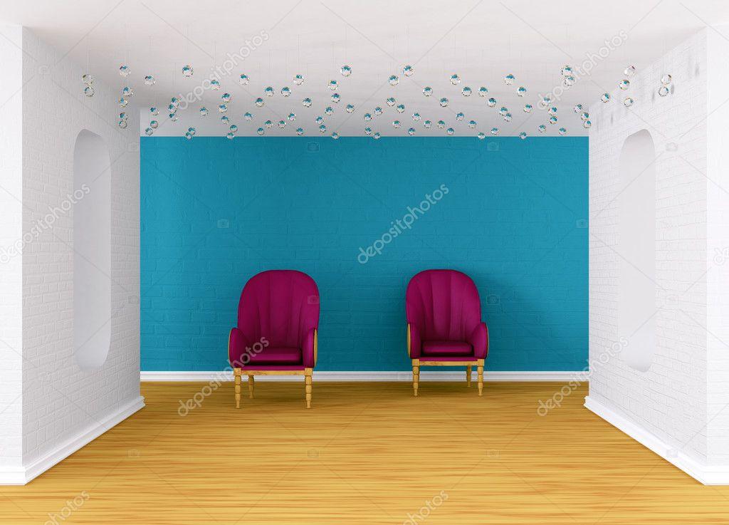 Galleryu0027s Hall With Purple Armchairs U2014 Stock Photo #8278781