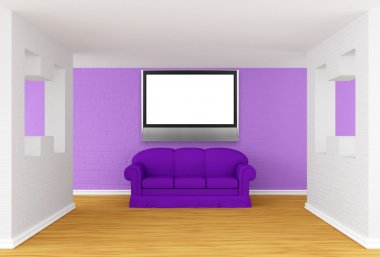 Gallery's hall with purple sofa and lcd TV