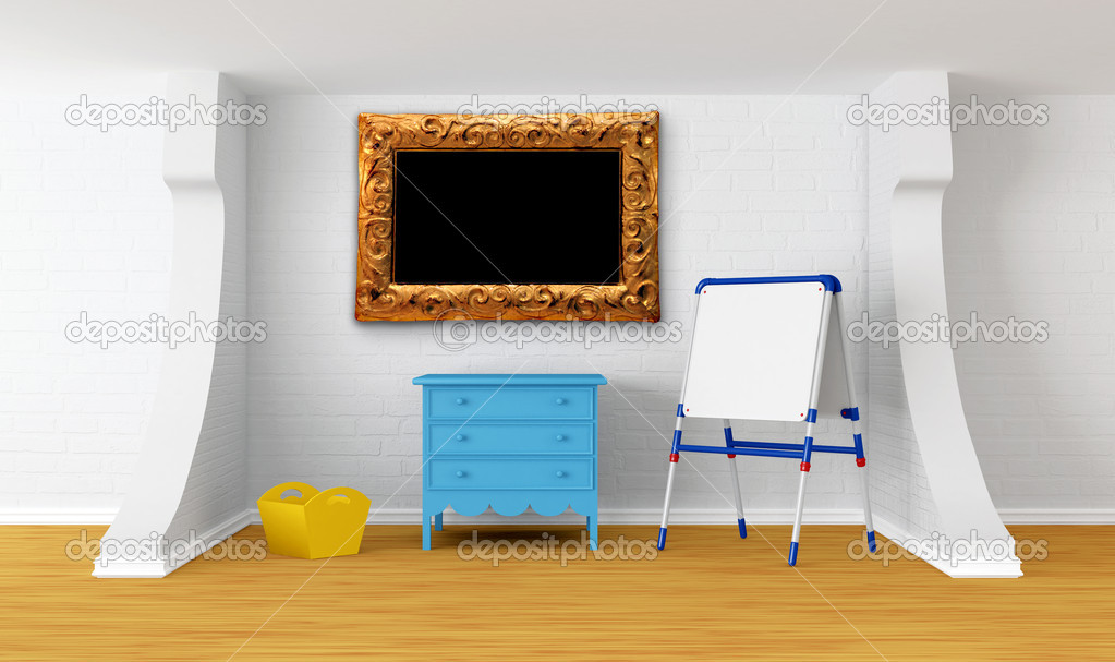 Kinderzimmer mit Tafel und Picture frame — Stockfoto © sommersby ...