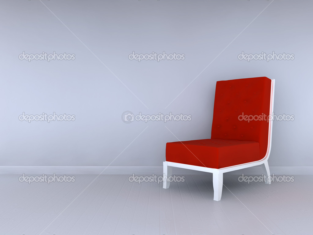 Alleen rode stoel in minimalistische interieur u stockfoto
