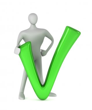 3d person with a green tick