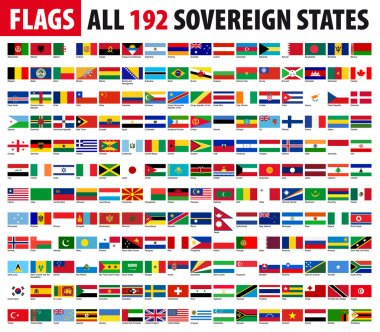All 192 Sovereign States, World Flags Series stock vector