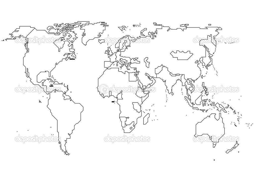 World continents stock vector megastocker 10486413 world map with continents vector outline map vector by megastocker gumiabroncs Image collections