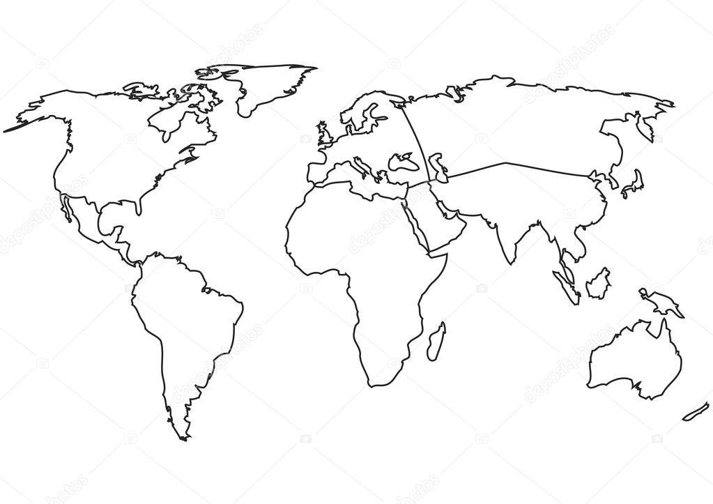 World continents stock vector megastocker 10486435 world map with continents vector outline map vector by megastocker gumiabroncs Images