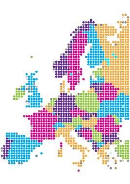 Dot Style Illustration of Europe Map