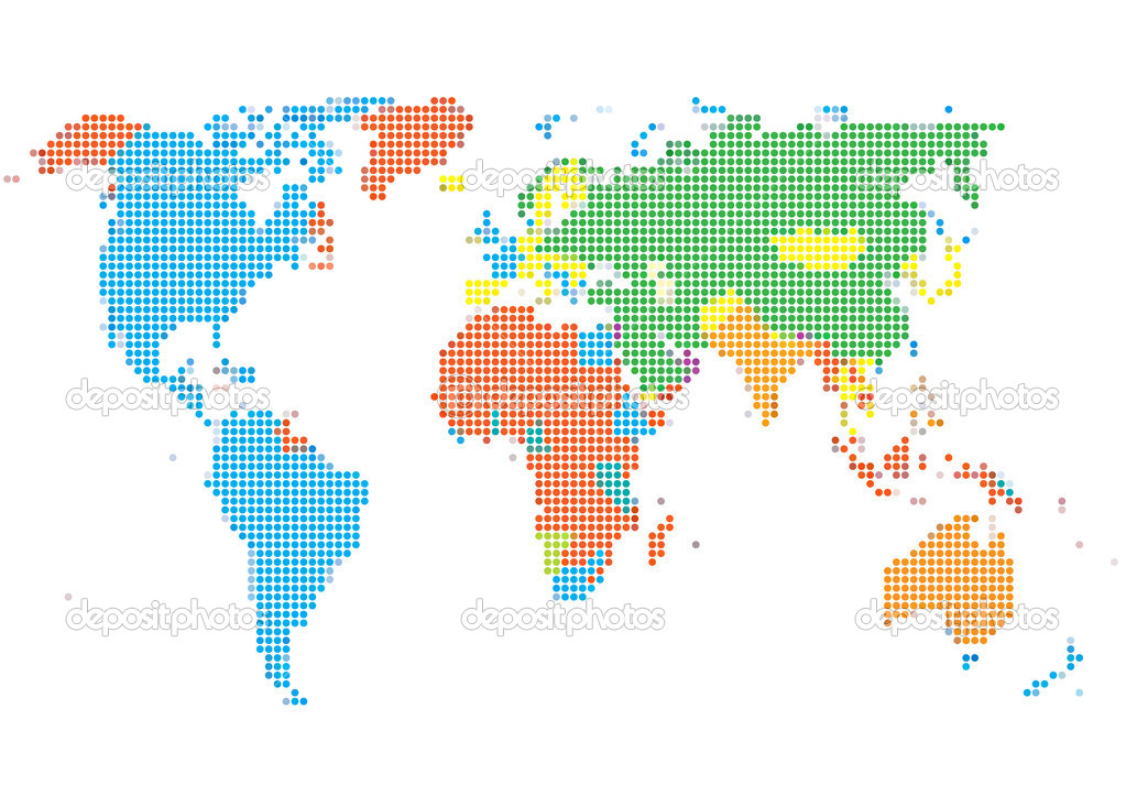 Dot style world map with continents stock vector megastocker dot style world map with continents vector graphic series vector by megastocker gumiabroncs Images
