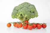 Fresh Raw Broccoli and Cherry Tomatoes