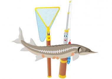 Fishing rod, net and sturgeon