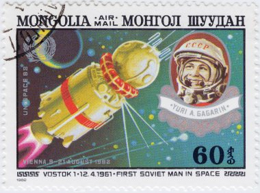 1982stamp printed in Mongolia with Gagarin