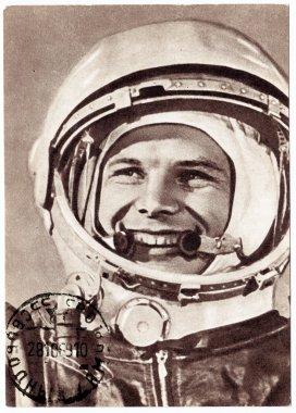 Postmarked Soviet postcard with Yuri Gagarin